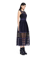 European leg of the new S * P aqueous new openwork lace stitching vest dress
