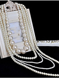 cheap -Women's Multi Layer Imitation Pearl Pearl Pearl Necklace Layered Necklace - Pearl Long Multi Layer Bridal Necklace For Wedding Party