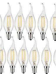 cheap -12pcs 2W 190 lm E14 LED Filament Bulbs CA35 2 leds COB Decorative Warm White AC 220-240V
