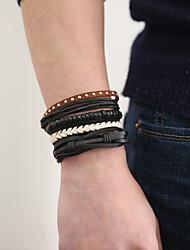 cheap -The New Vintage Cowhide Ancient Hand Woven Bracelet Cortical Layers Hand Rope Men's Bracelet Adjustable Size044
