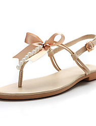 cheap -Women's Shoes PU Spring Summer Slingback Sandals Flat Heel Round Toe Bowknot for Office & Career Dress Party & Evening Gold Beige Brown