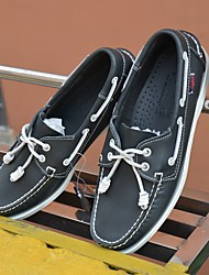 Men's Shoes Cowhide Spring Fall Comfort Boat Shoes For Casual Black