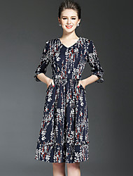 NEDO Women's Going out Party Holiday Street chic Sophisticated Sheath DressFloral V Neck Knee-length  Sleeve Blue Cotton Polyester