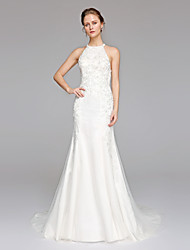 cheap -Mermaid / Trumpet Jewel Neck Sweep / Brush Train Lace Tulle Wedding Dress with by LAN TING BRIDE®