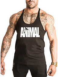 cheap -Men's Sports / Beach Casual / Active / Street chic Cotton Tank Top - Letter Round Neck