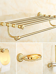 cheap -Bathroom Accessory Set Neoclassical Brass 4pcs - Hotel bath Toilet Brush Holder soap dish tower bar Toilet Paper Holders
