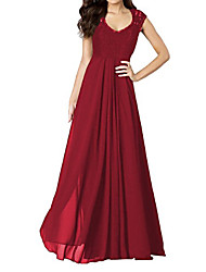 cheap -Women's Going out Holiday Vintage Swing Dress - Solid Colored Red, Lace Backless Cut Out Ruched Maxi U Neck