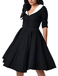 eaby Amazon explosion models Hepburn Wind sleeve V-neck waist big swing retro dress tutu