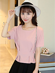 Sign waist short paragraph Korean version was thin loose bat sleeve ladies temperament chiffon shirt female short-sleeved T-shirt