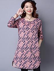 Sinal 2017 primavera nova impressão de tamanho grande mulheres&# 39; s de mangas compridas vestido camisa saia lazer