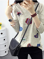 Women's Going out Casual T-shirt,Solid Round Neck Long Sleeves Others