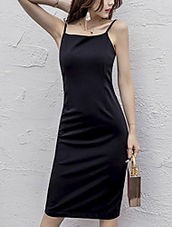 Women's Beach Holiday Sexy Little Black Dress,Solid Strapless Above Knee Sleeveless Cotton Spring Summer Mid Rise Micro-elastic Medium