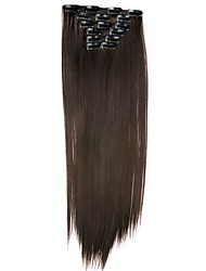 cheap -Synthetic Hair 58cm 130g with Clips 16 Clip in Hair Extensions False Hair Hairpieces Synthetic 23inch Long Straight Apply HairpieceD1014 4#