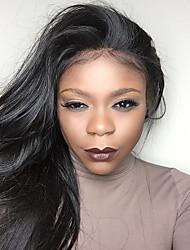 Ženy Paruky z přírodních vlasů Přírodní vlasy 150% Hustota Rovné Paruka Černá Krátký Střední Dlouhý Přírodní vlasová linie 100% ručně