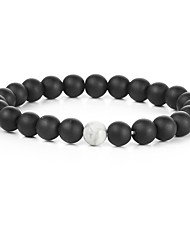 cheap -Men's Gold Plated Strand Bracelet - Natural Fashion Round White Black Bracelet For Gift Sports