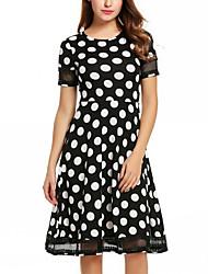 Women's Round Neck Polka Dot Knee-length Short Sleeve High Rise Swing Dress