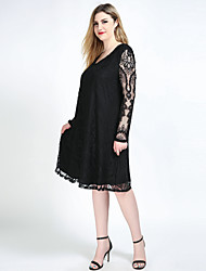 Really Love Women's Plus Size Casual/Daily Party Sexy Vintage Simple Loose Shift Lace Dress,Solid Round Neck Midi Long Sleeve Polyester SpandexAll