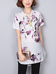 Women's Casual/Daily Plus Size Chinoiserie Summer Shirt,Print V Neck Short Sleeves Cotton Linen Thin