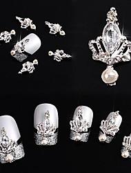 10pcs 3D Crown Bow Tie Crystal Rhinestone Alloy Nail Art Glitters DIY Decoration (Silver Crown)
