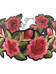 abordables -Femme Collier court / Ras-du-cou - Fleur Mode, euroaméricains Rouge Colliers Tendance 1pc Pour Soirée