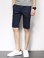 Men's Low Rise Micro-elastic Chinos Shorts Pants,Straight Slim Solid