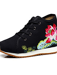 cheap -Women's Shoes Canvas Summer Fall Comfort Novelty Embroidered Shoes Oxfords Walking Shoes Flat Heel Chunky Heel Round Toe Buckle Flower for