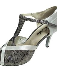 Damen Latin Satin Sandalen Innen Rüschen Maßgefertigter Absatz Grau Maßfertigung