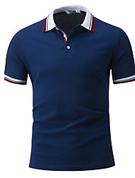 Men's Sports Casual/Daily Simple Active Summer Polo,Solid Shirt Collar Short Sleeves Cotton Rayon Thin