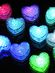 cheap -12Pcs Changing Color Novelty Gadget Led Light Ice Heart Clear Ice Cubes Decorative Led Luminous Flash Light Ice