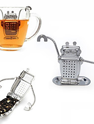 cheap -1Pcs  Stainless Steel Cute Robot Tea Infuser Manufacturer Direct Recyclable Tea Strainers Tea Tool