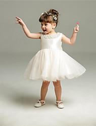 abito di sfera breve / mini vestito dalla ragazza del fiore - collo di cristallo sleeveless del organza con bordare da ydn