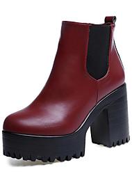 Feminino Sapatos Courino Outono Inverno D'Orsay Sapatos clube Botas da Moda Botas Caminhada Salto Grosso Dedo Apontado Cadarço de Borracha