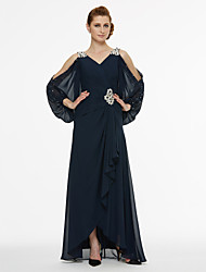 cheap -A-Line V-neck Asymmetrical Chiffon Mother of the Bride Dress with Beading Sash / Ribbon Pleats by LAN TING BRIDE®