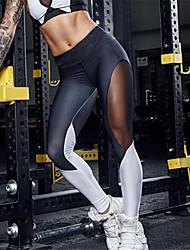 preiswerte -Damen Mittel Polyester Patchwork Kreuz - gespleißt Sportlich Legging,Schwarz