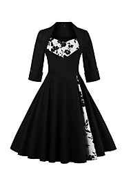 cheap -Women's Party Going out Vintage Sophisticated A Line Swing Dress,Floral Print Square Neck Knee-length Cotton Spandex All Seasons Mid Rise