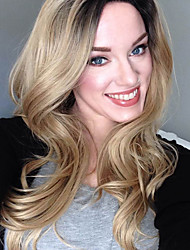 cheap -New Arrival Ombre Blonde Wig Middle Long Wavy Hair Synthetic Wigs For Women Heat Resistant Natural Wig
