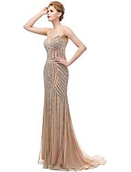 A sirena Con bretelline Strascico a terra Tulle Serata formale Vestito con Perline di Sarahbridal