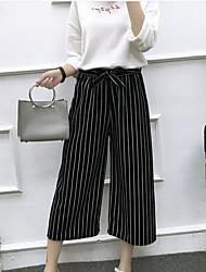 Feminino Vintage Cintura Alta Micro-Elástica Chinos Calças,Perna larga Listrado,Listas