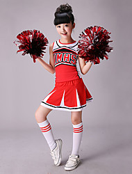 cheap -Cheerleader Costumes Outfits Children's Performance Cotton Spandex Splicing Sleeveless High Top Skirt