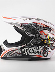 cheap -MEJIA Off-Road Motorcycle Racing Helmet Full Face Damping Durable Motorsport Helmet White/Orange Color
