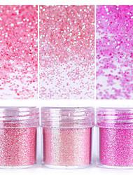 Недорогие -Розовый блестящий блеск ногтей порошок 1box 10 мл ногтей искусство советы ногтей украшения для ногтей для лака для ногтей