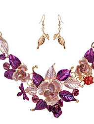 cheap -Women's Jewelry Set - Flower Include Vintage Necklace Purple / Blue For Wedding / Party / Special Occasion