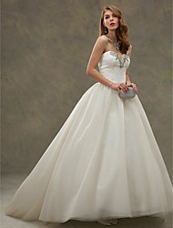 cheap -Ball Gown Sweetheart Court Train Satin Tulle Custom Wedding Dresses with Beading by LAN TING BRIDE®