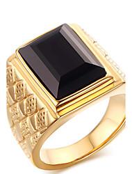 cheap -Men's Ring Statement Ring Acrylic Gold Titanium Steel Geometric Personalized Euramerican Hip-Hop Fashion Rock Punk Party Anniversary