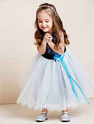 A-Line Tea Length Flower Girl Dress - Tulle Sequined Sleeveless Jewel Neck with Draping by thstylee