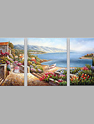 cheap -Hand-Painted Modern Med LandScape Oil Painting Three Panel Canvas Oil Painting Multi Split Oil Painting