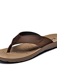 Chinelos de homem&Flip-flops primavera verão queda conforto couro ao ar livre escritório&Carreira vestido casual luz água marrom
