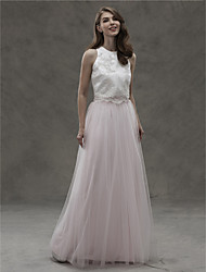 A-Line Jewel Neck Floor Length Satin Tulle Bridesmaid Dress with Appliques by LAN TING BRIDE®