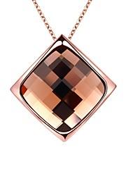 Femme Pendentif de collier Colliers chaînes Cristal Opale synthétique Formé Carrée Forme Géométrique Verre Plaqué Or Rose 18K or Alliage