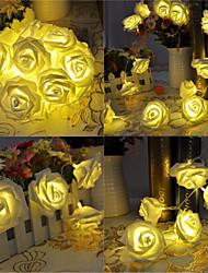 Недорогие -5 метров с питанием от батареи 20 светодиодные розы цветок строка сказочные огни свадьба домой день рождения новый год вечеринка рождественские украшения теплый белый